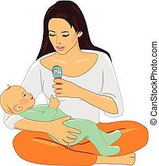 Mom and baby playing with rattle. Vector illustration