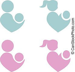 Mom and baby vector icon, parents heart shape