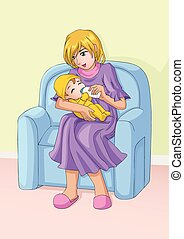 Mom And Child - Cartoon illustration of a mother holds...
