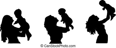 mom and child on white background