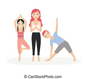 Mom and children standing in yoga postures and meditating. Mother and kids performing aerobics exercises together. Cartoon characters isolated on white background. Colorful flat vector illustration.