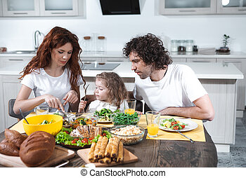 Mom and dad feeding little daughter in kitchen