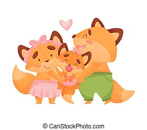 Mom and dad fox hug baby. Vector illustration on a white background.