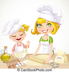 Mom and daughter baking cookies