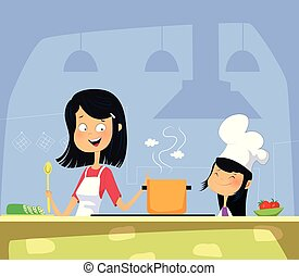 Mom and daughter cooking in kitchen together