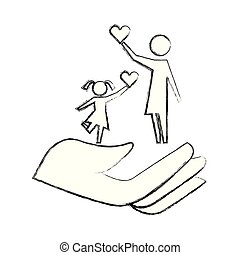 mom and daughter holding heart on hand protection pictogram