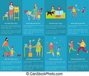 Mom and Daughter, Mother with Child Vector Posters