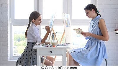 Mom and daughter paint at home in front of the window on easels