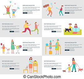 Mom and Daughter Set of Pages Vector Illustration