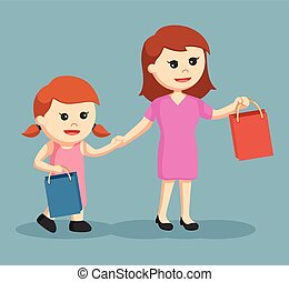 mom and daughter shopping together