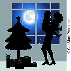 Mom and daughter silhouette