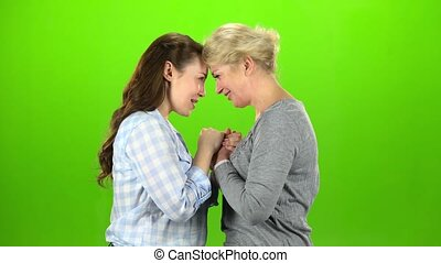 Mom and daughter talking on various topics. Green screen....