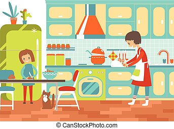 Mom and dauhter cooking together in the kitchen. Home help, upbr