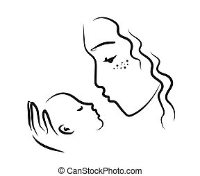 Mom and her baby on a white background. Mother's love. Sketch. Vector