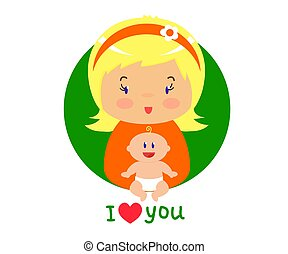 Mom and her baby on a white background. Vector