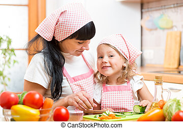 mom and her daughter preparing vegetables at kitchen