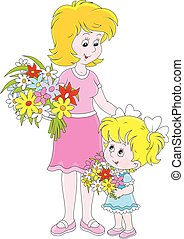 Mom and her daughter with flowers - Vector illustration of a...