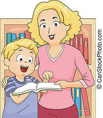 Mom and Kid Bookstore - Illustration of a Mother and Her Son...