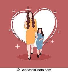 Mom And Kid Flat Illustration
