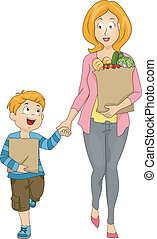Mom and Kid Groceries