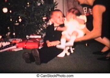 Mom And Kids By Christmas Tree 1965