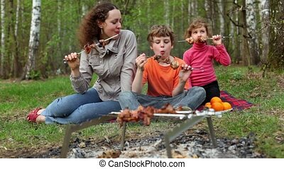 Mom and kids sit on grass cover by plaid and eats kebab on...
