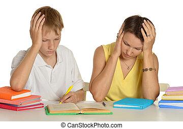 Mom and son do homework