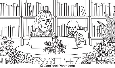Mom and son in library