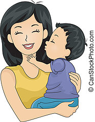 Mom and Son Kiss - Illustration of a Cute Little Boy Giving...