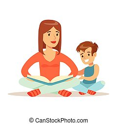 Mom And Son Reading Book, Loving Mother Enjoying Good Quality Mommy Time With Happy Kid