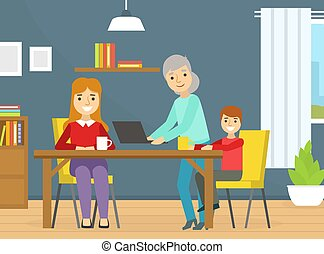 Mom and Son Sitting at Table Drinking Tea, Grandma Holding Laptop Computer, Happy Family Spending Time at Home Cartoon Vector Illustration