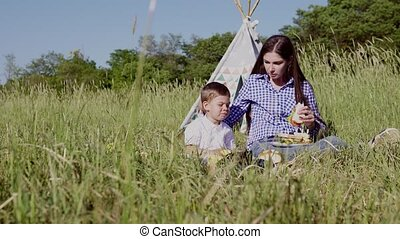 mom and young boy at a picnic on the nature of eating