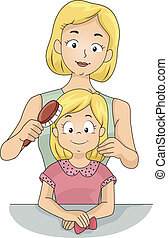 Illustration of a Caucasian Mom Brushing Her Daughter's Hair