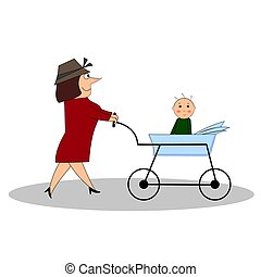 Mom carrying a stroller with a baby.