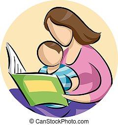 Mom Child Read Book