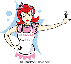 Mom Clip Art - Mom or mother in retro cartoon or pop art...