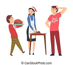 Mom Cooking Food for Christmas Holidays Wearing Santa Claus Hat, Her Husband and Son Helping Her, Family Celebrating New Year, Christmas Eve Vector Illustration