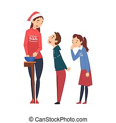 Mom Cooking Food for Christmas Holidays Wearing Santa Claus Hat, Her Son and Daughter Standing Next to Her, Family Celebrating New Year, Christmas Eve Vector Illustration