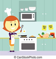 Mom Cooking in the Kitchen