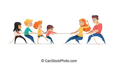 Mom, dad and children pulling opposite ends of rope. Tug of war competition between parents and their kids. Concept of family sports activity, generational conflict. Cartoon vector illustration.