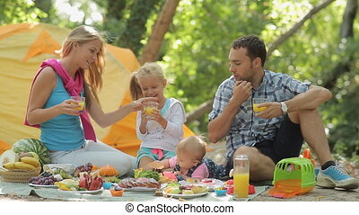 Mom, dad,  little girl and baby sitting on the nature with fruits and juice