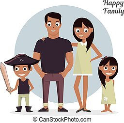 Mom, Dad with a daughter and son. Vector illustration, isolated on white background happy family.