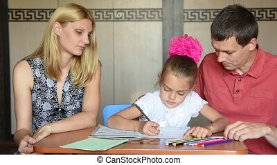 Mom daughter corrects posture that makes the lessons with...