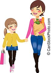 Mom Daughter Shopping Together - Beautiful mom with grocery...