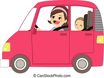 Mom Driving Car With Baby - Beautiful young mom driving pink...
