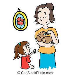 mom feeding a dog cartoon illustration