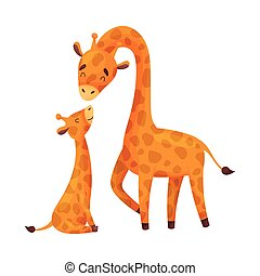 Mom giraffe with her baby. Vector illustration on white background.