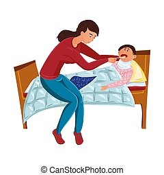 Mom gives a spoonful of medicine to a sick child. Vector illustration in flat cartoon style.