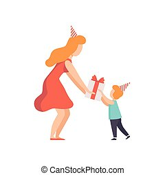 Mom giving gift box decorated with red ribbon bow to his little daughter, kid celebrating birthday vector Illustration on a white background