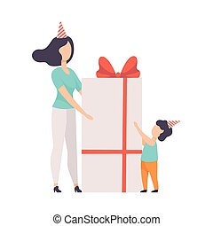 Mom giving large gift box decorated with red ribbon bow to her little son, kid celebrating birthday vector Illustration on a white background